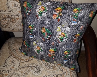 "Nintendo Zelda Stained Glass  16"" x 16"" Decorative Throw Pillow (with Insert)"