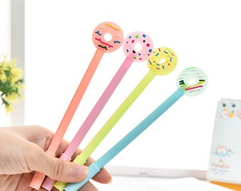 Donut Pens, Donut Pen, Donuts Pens, Cute Kawaii Donut, Colorful Sprinkles, Black Pen 0.5mm Fine Tip, Gel Ink Pen
