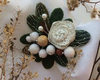Handmade felted brooch Fondness - Handmade brooch - Needle felted pin - Felted brooch - Gift for her - Gentle brooch - Gentle brooch