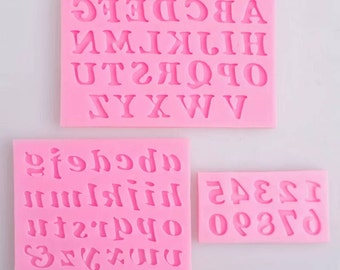 3 pieces numbers and letters alphabet silicone mold