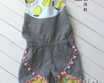 Summer Lemon Romper, Spring Romper, Toddler Girl Outfit, Girl Romper, Toddler Romper