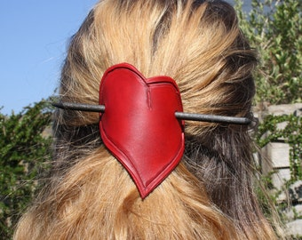 Red leather heart hair barrette/red leather heat hair slide/red leather heart hair clip