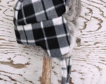 Trapper Hat, Black and white checkered, real fur, aviator hat, toddler. boys and girls, children, rabbit fur