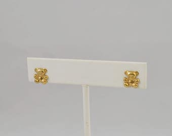 14k Yellow Gold Teddy Bear Earrings