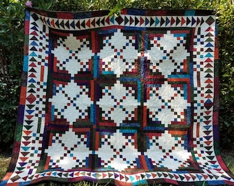 Handmade Nine Patch, Flying Geese Quilt