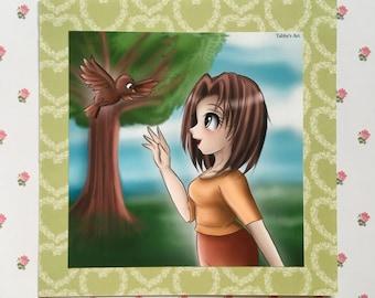 Manga drawing / manga art / cute art print / kawaii art