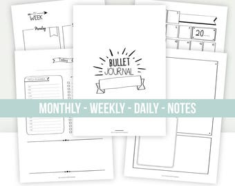 BULLET JOURNAL | Printable | Undated | To customize : Monthly calendar, weekly planner, daily planner, notes pages, to do list...