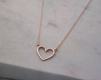Solid Gold Heart Necklace, Rose Gold Heart, 14K Gold Necklace, Rose Gold, Gift For Wife, Gold Love Necklace, Gold Heart Charm, Heart Jewelry