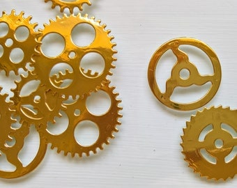 Steampunk Gold Gears / Chronology Cogs / Gears confetti / table confetti for weddings parties (pack of 50)