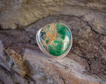 Variscite Silver Ring Size 6-6.25 / Crimson Buffalo / Gifts for Her / Handmade Bohemian Jewelry / Sterling Silver Ring / Bold Statement Ring