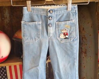 80s Toddler Blue Denim Popeye the Sailor Man Jeans. Size 4