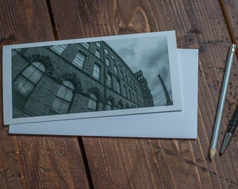 Salts Mill / Salts mill card / Saltaire card / Yorkshire / Black and White / DL Art Card / Blank Art Card / Just Because card/ Saltaire
