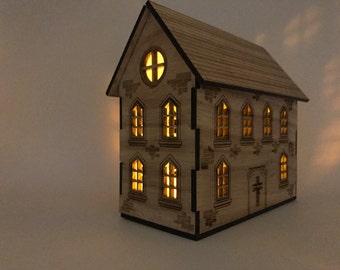 Stupendous Miniature Wood House Etsy Largest Home Design Picture Inspirations Pitcheantrous