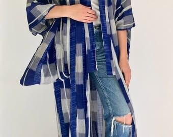 Reserved for Cathianna ** Antique Japanese Indigo Blue Pattern Long Kimono | Long Indigo Robe | Blue White Pattern Kimono