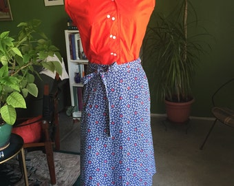1960's-70's Anchors and Sailboats Novelty Print Wrap Skirt