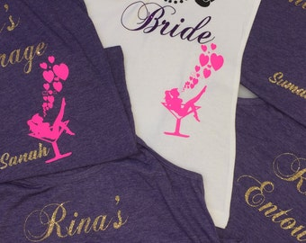Bride, Bride's Entourage Fancy Personalized Tank Tops Design - Maid of Honor, Bride Ladies tank top, Bachelor Party Shirts, Wedding Party
