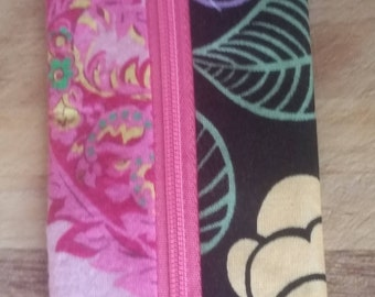 Notions Pouch 'Pink Paisley Black Flowers'