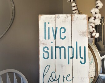 Live Simply Love Deeply Rustic Reclaimed Wood Sign, Modern Farmhouse, Farmhouse Style, Gallery Wall Decor, Home Decor, Inspirational Decor