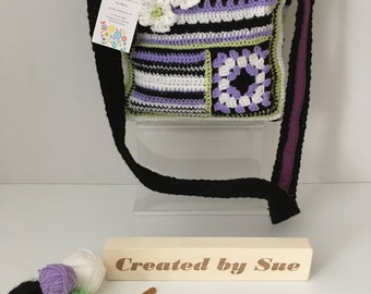 Cross body, shoulder bag, lined, crocheted,handmade,OOAK,Boho,Hippy, Mauve,Green, White, Black