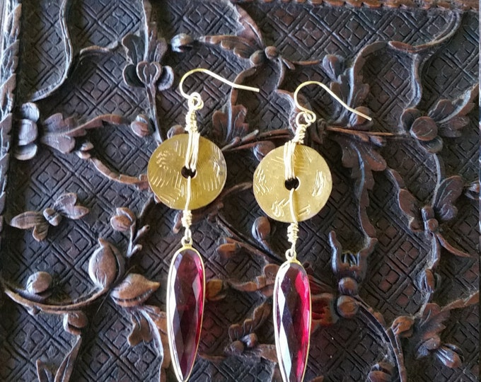 Earrings with Red Quartz, 14 K GF, sterling and Brass