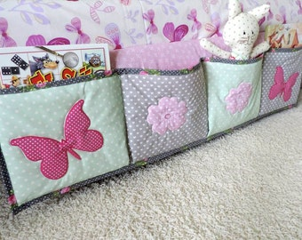 Bedside Organiser - Baby Crib Pocket Organiser - Diaper Organiser - Nursery Room Organiser - Book Storage Basket - Crib Organiser - Nursery