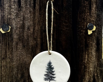 Round Unique Evergreen Tree Christmas Ornaments Handmade, Artisan Christmas Ornaments, Handmade Christmas Ornaments, White Ceramic Ornaments