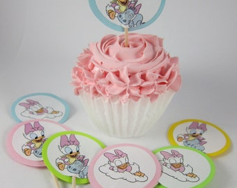 Daisy Duck,Donald Duck, Baby Shower theme cupcake topper, Baby Shower decorations, Birthday cupcake picks, Party Birthday Decoration