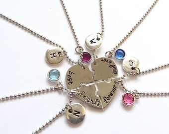Set of 4 Best Friend Necklaces, Heart Necklace, Sisters Gift, Gift for Bridesmaid, BFF, Christmas Gift, Birthstone Initial Charm
