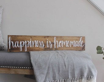Happiness is Homemade | Wood Sign | Home Decor | Rustic Sign | Housewarming Gift
