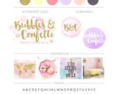 Watercolor Branding Package, Gold Glitter Logo Design, Premade Branking Kit Confetti Logo Photography Logo Boutique Event Planner Logo Stamp