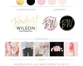 Pink Watercolor Branding Package, Photography Logo, Makeup Artist Logo Branding Kit, Gold Watercolor Logo Design, Fashion Blog Business Logo