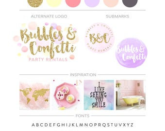 Watercolor Branding Package, Gold Glitter Logo Design, Premade Branking Kit Confetti Logo Photography Logo Boutique Event Planner Logo Stamp