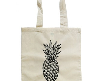 Pineapple Tote Bag, Cotton tote bag, cotton bag, Pineapple bag, White tote bag, Ananas bag, Ananas tote bag