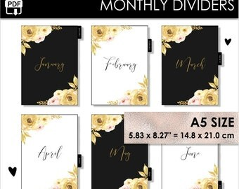A5 Monthly Dividers Black Gold Planner Filofax Websters Pages Kikki K Large Inserts 12 Month Tabs Year Arc Planner Pdf PRINTABLE