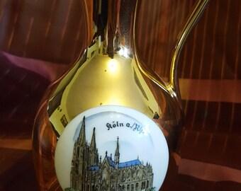 Waldershof Germany vintage Helkelvase gold vase with a Cologne Church motif