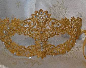 Gold Diamante Lace Masquerade Mask Gold Satin Ribbons- Weddings, New Years, Valentine's Day Gift, Masked Balls, Proms, Christmas Party