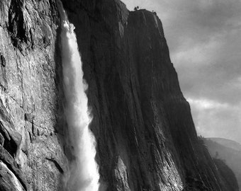 Yosemite Falls, waterfall, mountain, valley, California, black and white, photography, landscape