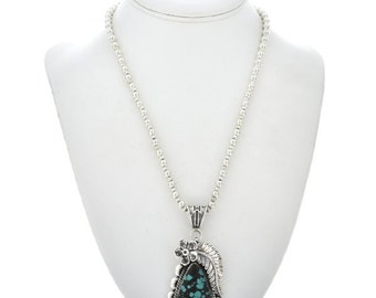 Turquoise Silver Native American Pendant With Bead Necklace