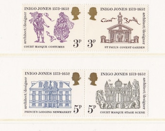 1973 Vintage Postage Stamp Set from Great Britain; Architect and Designer Inigo Jones; Architecture, Buildings, MNH, Mint, Unused