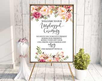 PRINTABLE Welcome to our unplugged ceremony sign, unplugged wedding sign, rustic wedding sign, no phones sign, no cell phone, VF1
