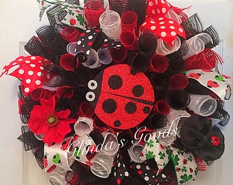 Ladybug wreath, Spring Wreath, Summer Wreath, Spring Mesh Wreath, Spring decor, Summer decor