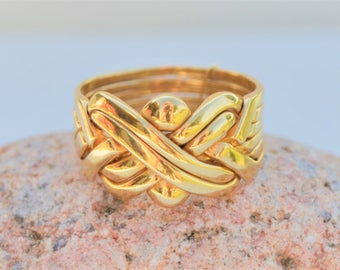 vintage 18k gold puzzle ring unique wedding ring size 10 12 - Turkish Wedding Ring