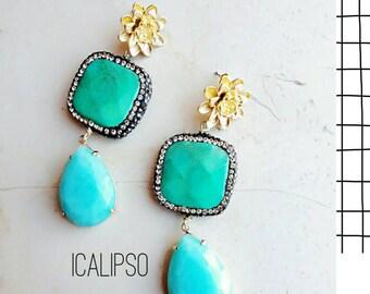 Turquoise earrings, dangle earrings, boho jewelry, boho earrings, bohemian earrings, flower earrings, statement jewelry, gift for her