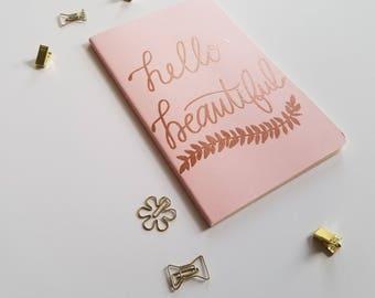 Rose Gold Embossed Moleskine Cahier Journal - Hello Beautiful