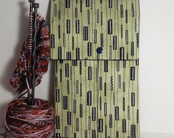 """Knitting Needle Print;  10"""" Knitting Needle Case"""