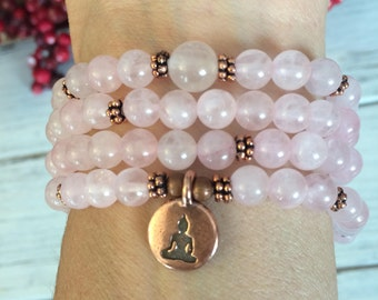 108 Rose Quartz Mala Beads, Meditation, Buddhist Prayer Beads, Rose Quartz Bracelet-Necklace, Loving Energy+Compassion+Kindness, Forgiveness