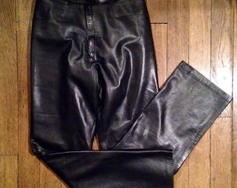 Leather straight cut pants