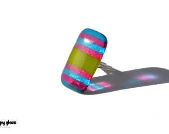Fused Glass Ring - Oversized Ring - Funky Ring - Glass Ring - Gift for her - Birthday Gift - Cocktail ring