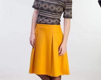 CLEARANCE - one size sale - Midi mustard skirt Mustard yellow skirt Midi womens skirts Mustard office skirt women Midi mustard jersey skirt