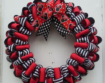 Black and Red Mouse Ears Ribbon Wreath